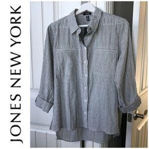🎄🎁Jone's New York Striped Gauze Blouse Size M